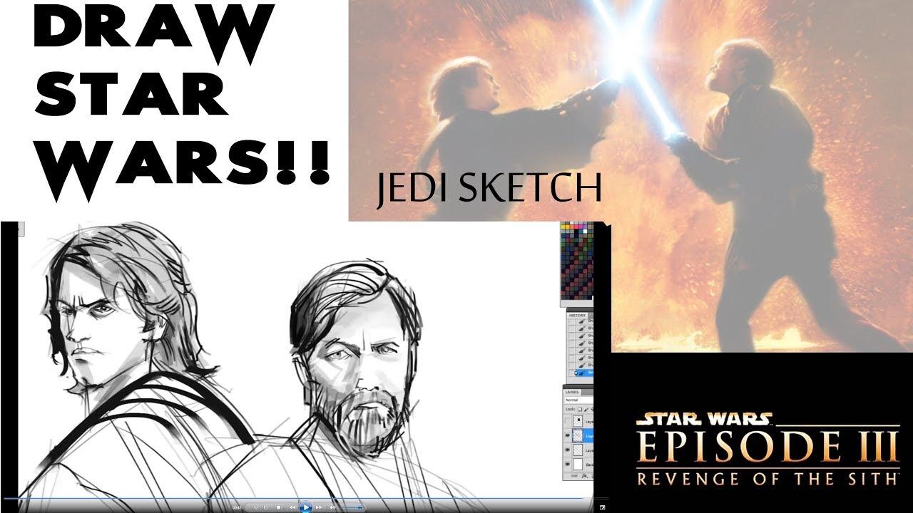 Obi Wan Kenobi And Anakin Skywalker Sketch By Eli Hyder Venamis