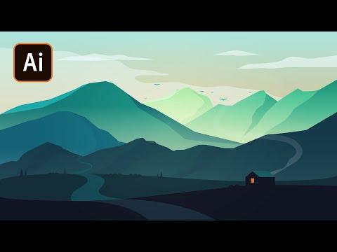 Атмосферный пейзаж в Adobe Illustrator