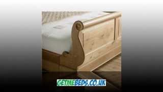 Toulouse Solid Oak Sleigh Bed Finished In Wood