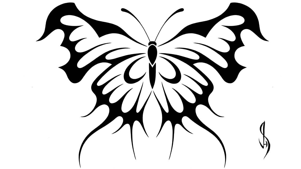 drawing a butterfly tribal art tattoo design style youtube
