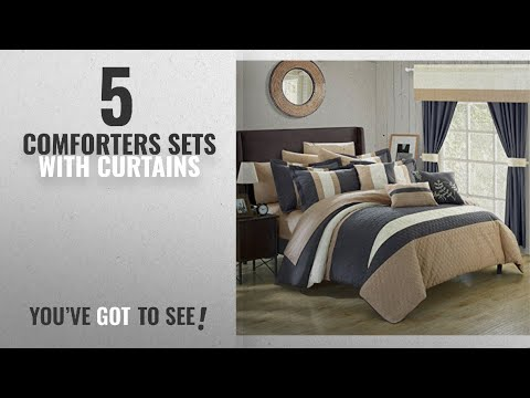 Top 10 ComfortersSets With Curtains [2018]: Chic Home Covington 24 Piece Comforter Set Embroidered