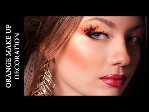 Orange Make Up With Decoration \ Макияж в оранжевых тонах. Узоры