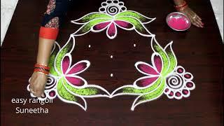 5 dots beautiful creative muggulu design   easy rangoli   new kolams