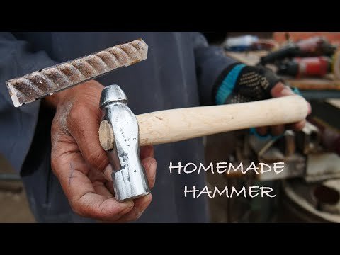 MAKING A BALL PEEN HAMMER USING A FEW AVAILABLE TOOLS BY CAMBODIAN BLACKSMITH