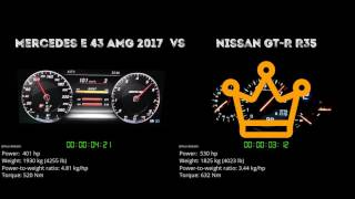 Mercedes E 43 AMG 2017 vs. Nissan GT-R R35 - the 0-100 km/h duel. W...