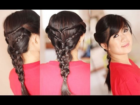 Back to School Hairstyle Twists Triple Braided Hairstyles for Layered Hair  YouTube