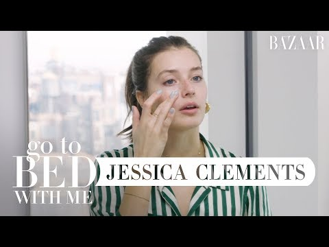 Model Jessica Clements' Nighttime Skincare Routine | Go To Bed With Me | Harper's BAZAAR thumbnail