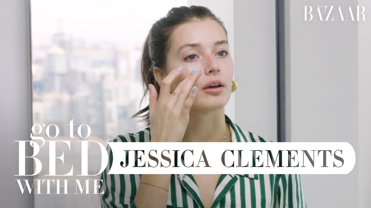 Model Jessica Clements' Nighttime Skincare Routine | Go To Bed With Me | Harper's BAZAAR