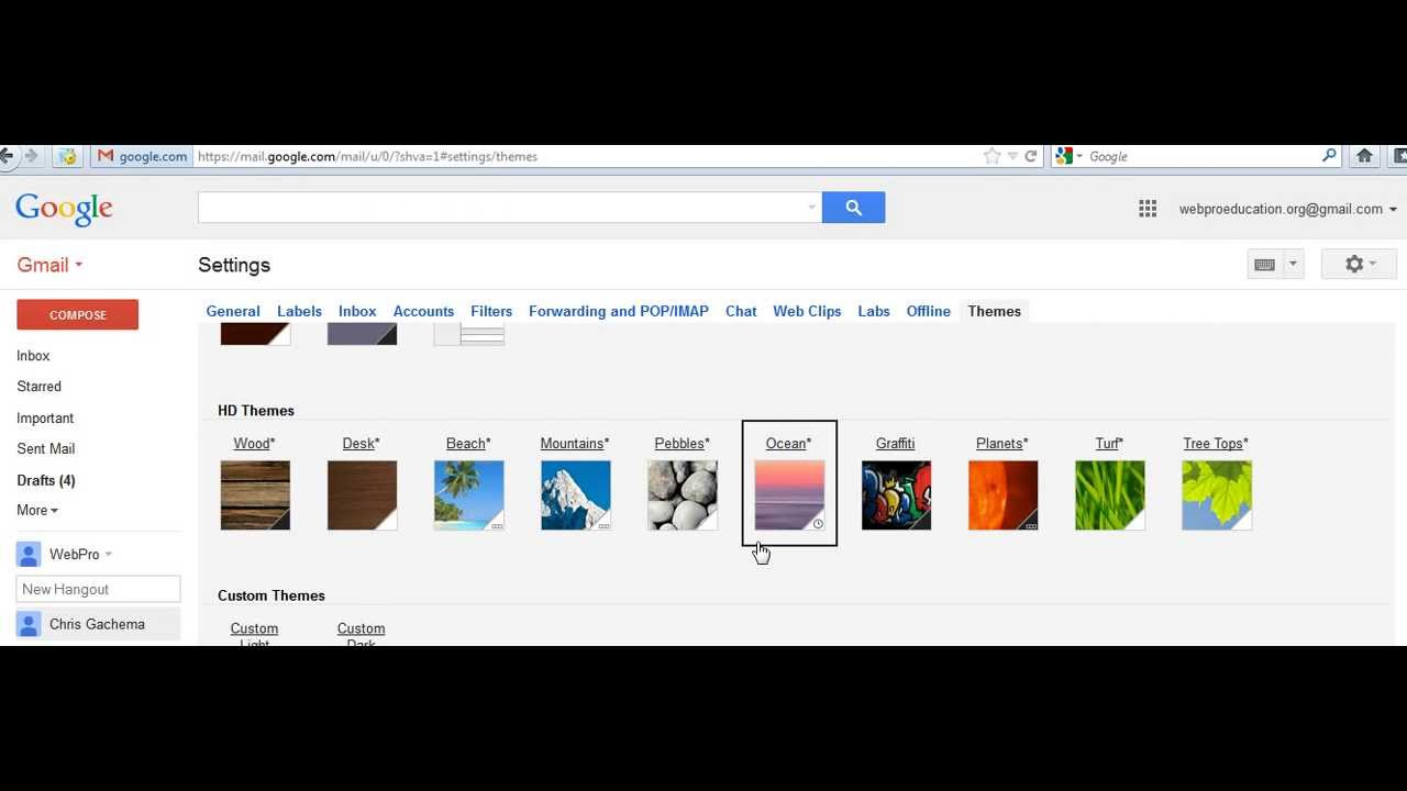 Custom themes for gmail - How To Change Gmail Theme