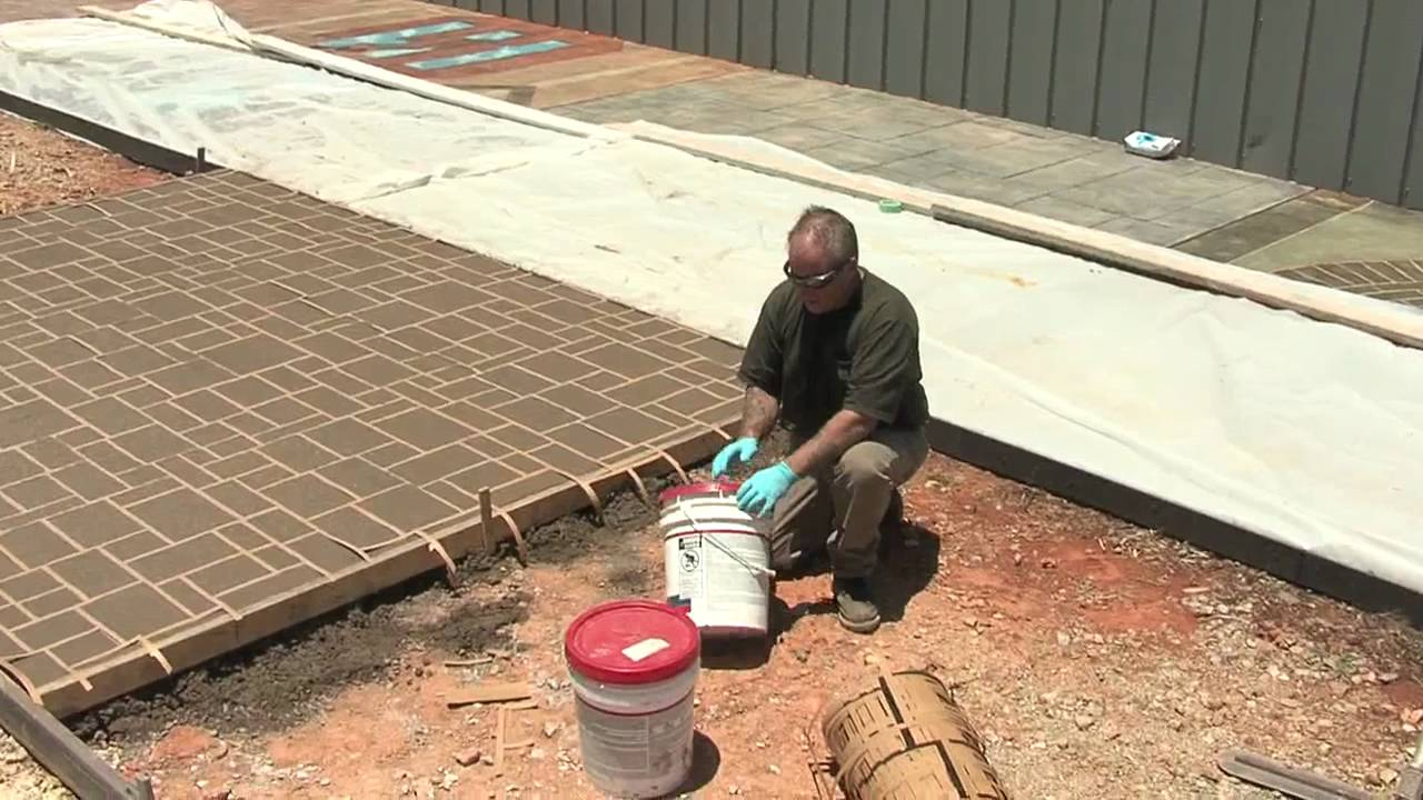 Concrete Stencils - Using Stencils on Exterior Concrete - YouTube