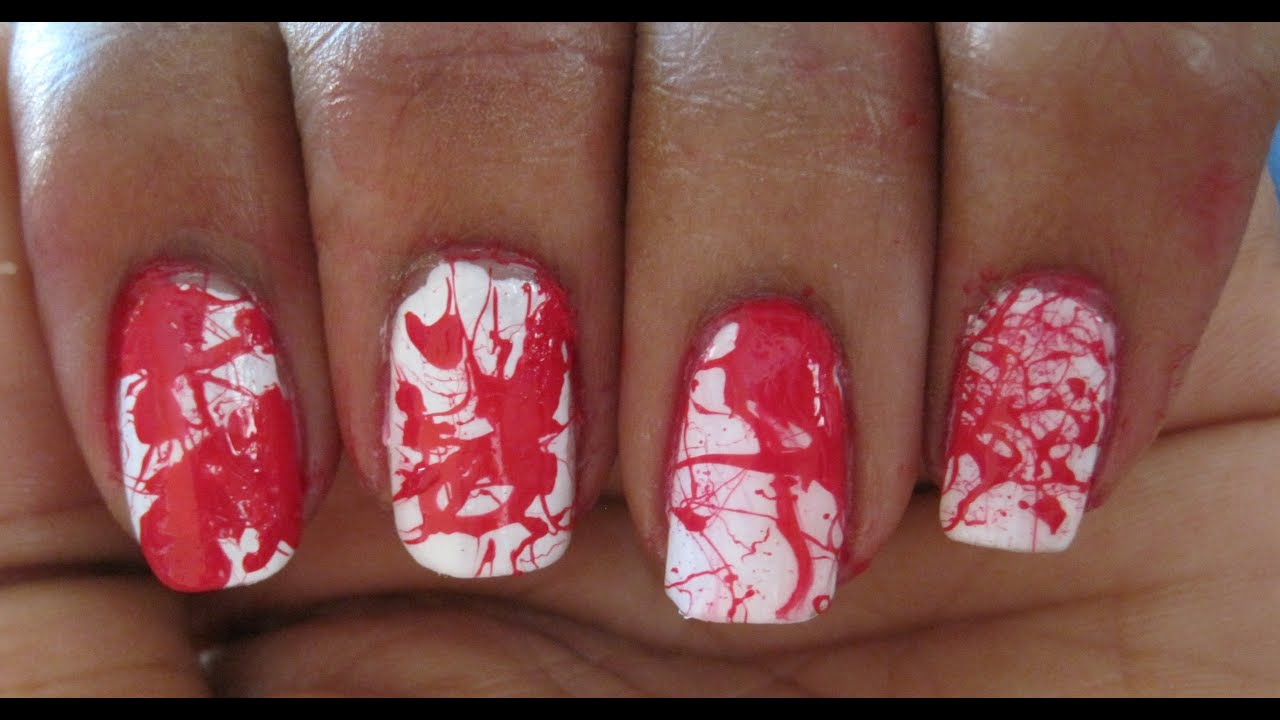Blood Splatter Nails ~ Halloween Inspired Design - YouTube