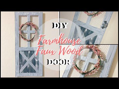 DIY DOLLAR TREE SCREEN DOOR | FARMHOUSE FAUX WOOD DOOR