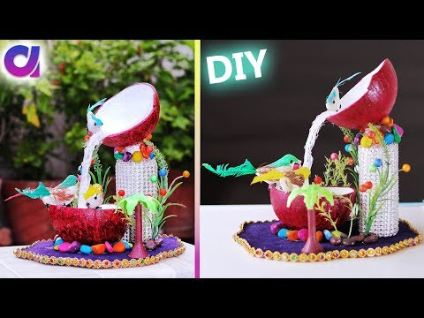 how to make  waterfall showpiece waste coconut shell | Best out of waste | Artkala 288