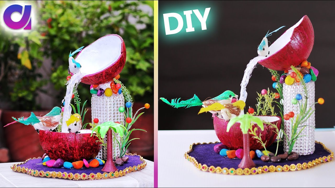 How to make waterfall showpiece waste coconut shell best for What to make best out of waste