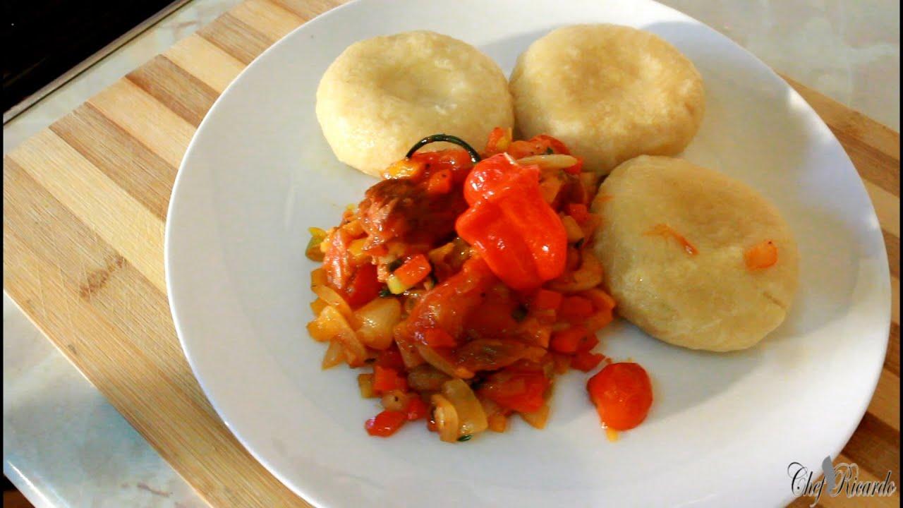 tin mackerel with cornmeal dumpling jamaican cooking