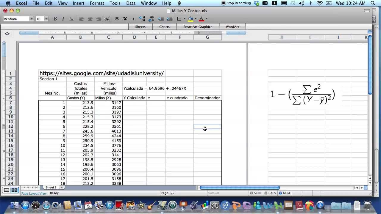 how to find the r2 value on excel