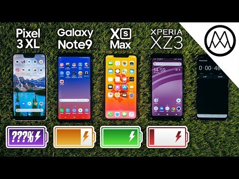Pixel 3 XL vs Samsung Note 9 vs iPhone XS Max Battery Life DRAIN TEST