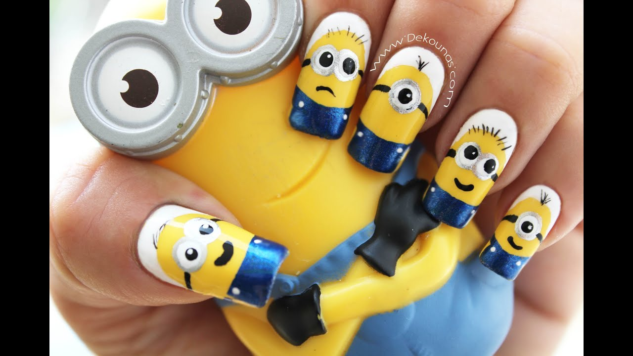 Decoración de uñas Minions - Minions nail art tutorial - YouTube