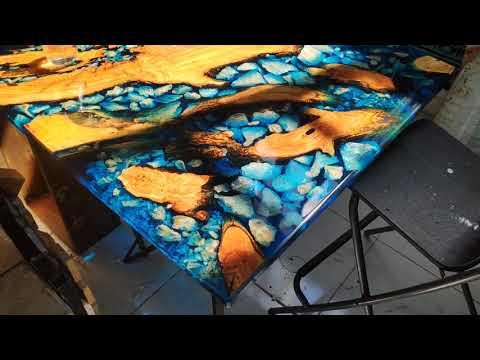 Epoxy resin table cristals  - Agartha Workshop - ETSY