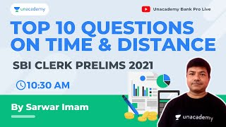 Top 10 Exam Level Questions on Time and Distance |SBI Bank Clerk Pre 2021 | Sarwar Imam