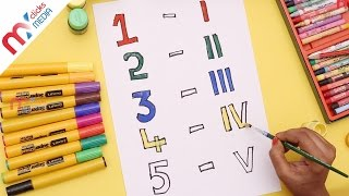 How To Draw And Paint Roman Numerals ( Numbers ) For Kids Teach Draw to Children My Kids Rhymes