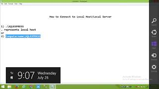 This Video shows you how to connect sql server with local host(Wind...