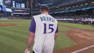 COL@ARI: Brenly tosses first pitch on Alumni Night