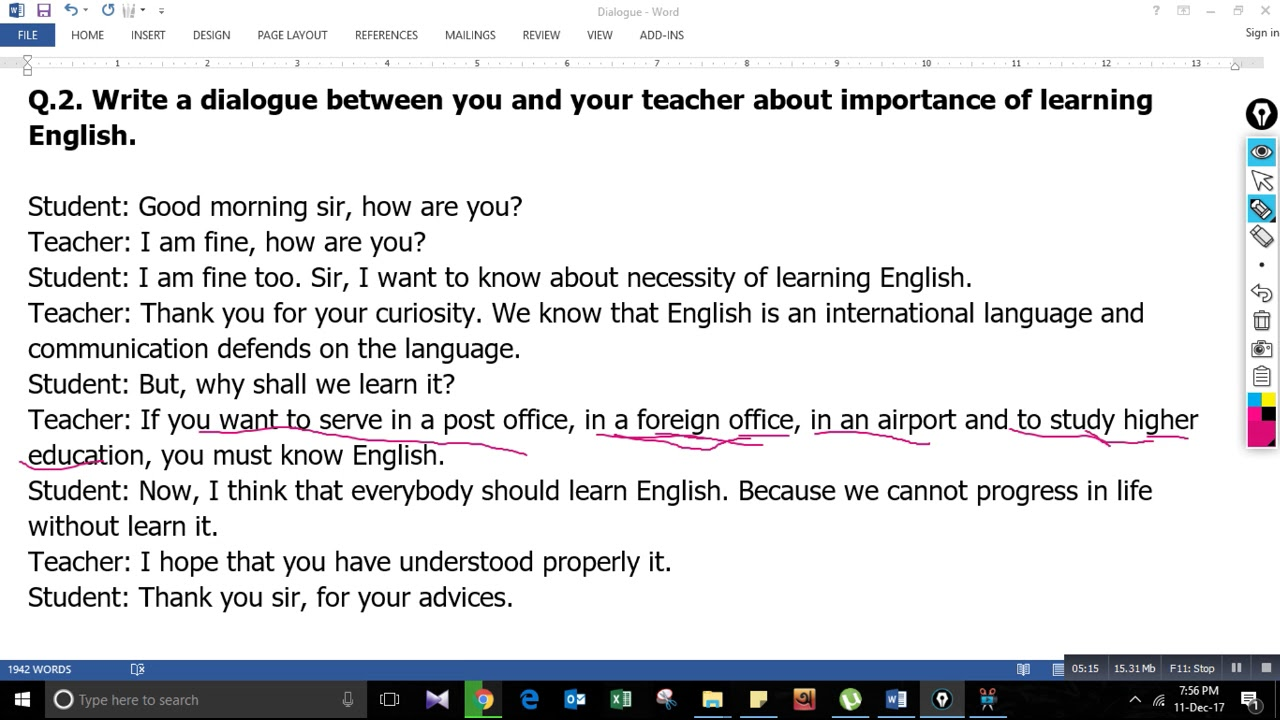 importance of learning english dialogue for class 7