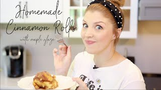 Make Homemade Maple Glaze Cinnamon Rolls With Me!
