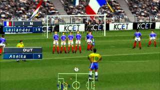 ISS Pro Evolution: PS1 Gameplay - France vs. Brazil