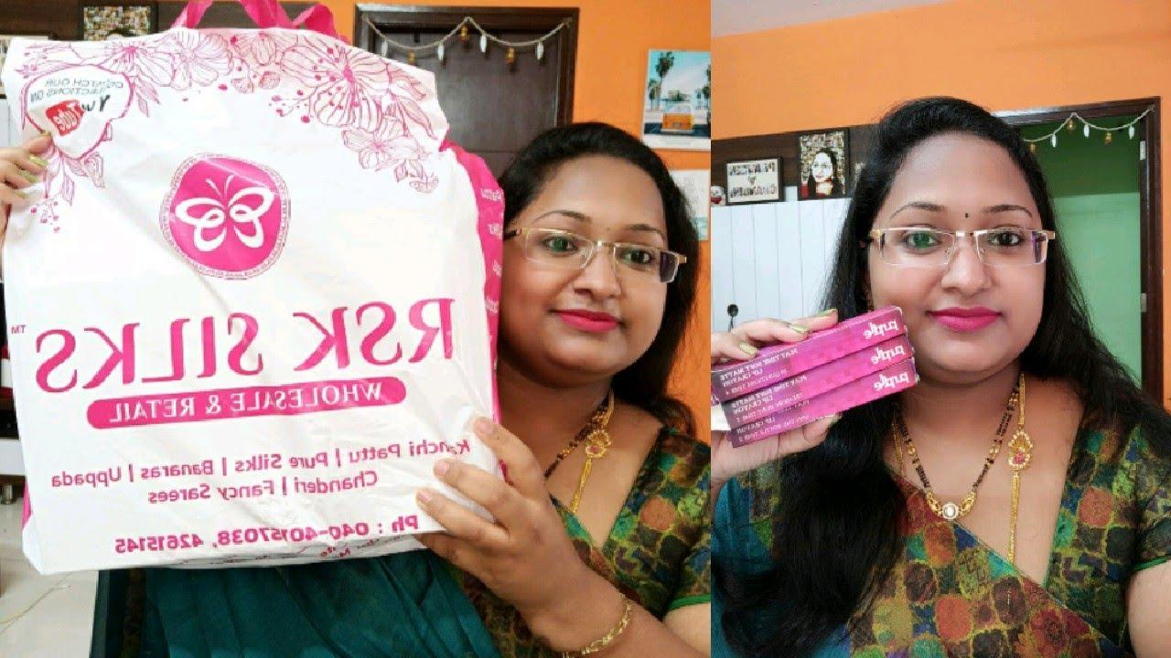 RSK Silks లో నేను కొనుకున్న చీరలు//lipstick Review ఇందుకే చేయలేకపోతున్నా/purplle lip crayon swatches