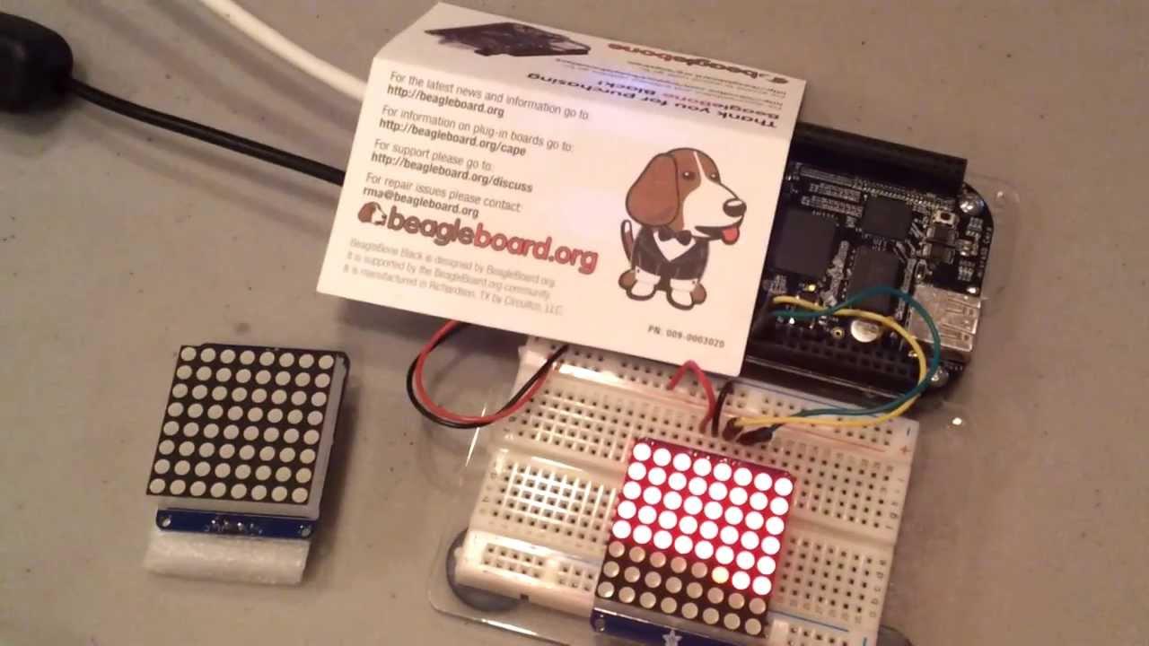 Adafruit 8x8 LED matrix controlled by BeagleBon    | element14