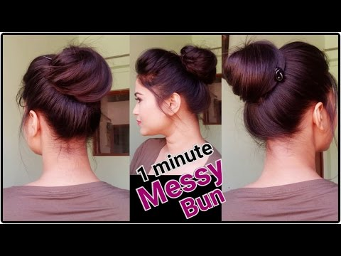 1 Min Messy Bun with Bunstick Everyday hairstyles for school/college/work