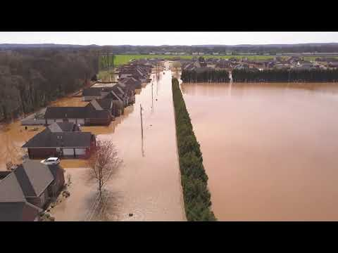 Drone video of Flooding in Muscle Shoals