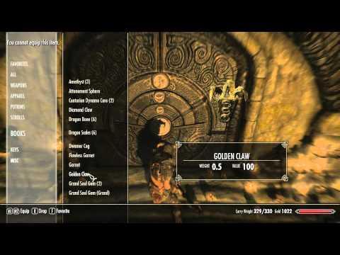 SKYRIM Skuldafn Temple Door Puzzle GamePlay Commentary + Tutorial
