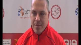 Krisztian Pars (HUN) after 2nd place Hammer Throw, Leiria 2014