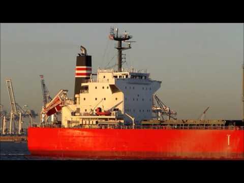 Bulk carrier Global Laguna enters Upper New York Bay near St  George, Staten Island