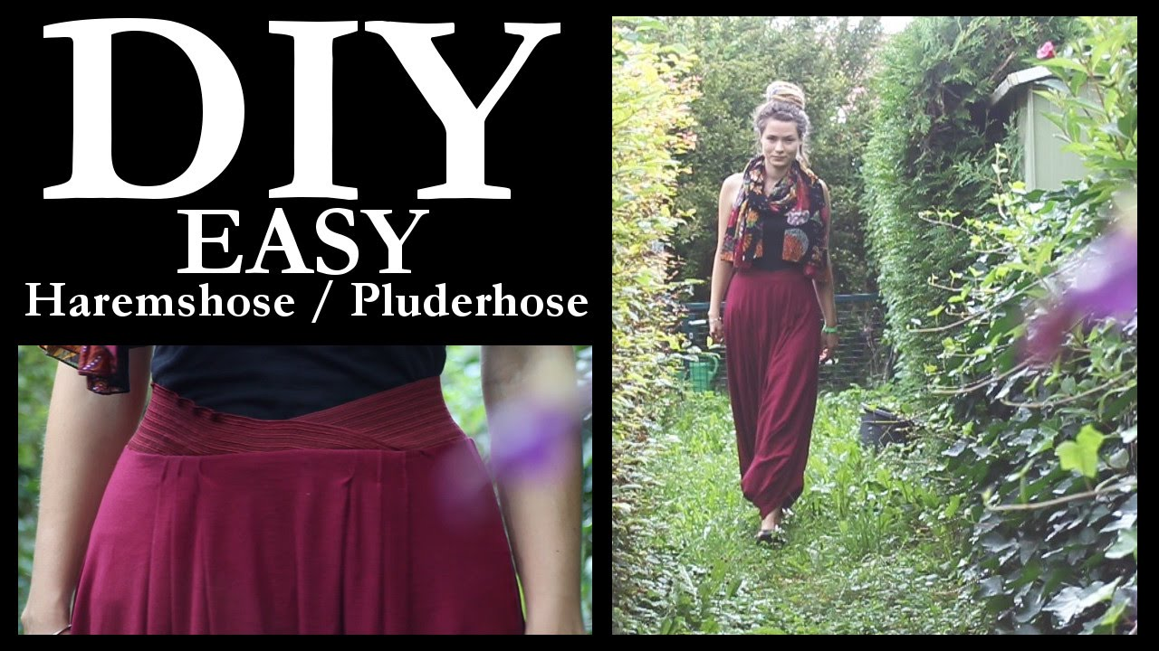 DIY EINFACHE Haremshose / Pluderhose High Waist ♥ - YouTube