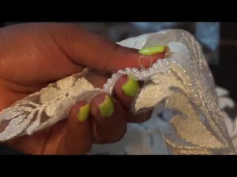 DIY Hand Beaded Lace Applique