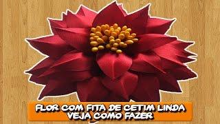 Flor com Fita de Cetim Linda Veja como fazer