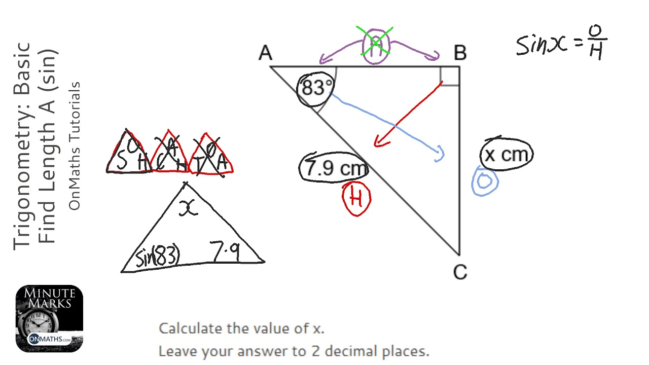 Trigonometry: Basic Find Length A (sin) (Grade 5) - OnMaths GCSE Maths Revision