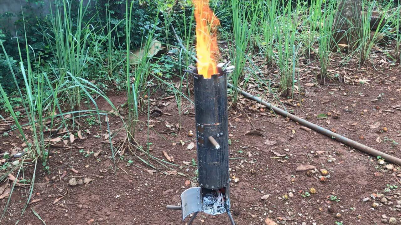 Bếp củi Rocket - Cách chế bếp củi Rocket Đơn Giản   Simple Rocket firewood stove