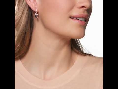 760feff53 Swarovski Rose Plated Duo Hoop Moon Jet Crystal Earrings - YouTube