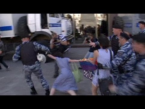 Russia police detain gay-rights activists at Moscow mayor's office.