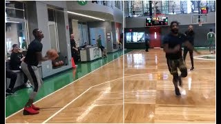Terry Rozier hits 22 straight 3 pointers at Celtics practice & leaves Kyrie in awe