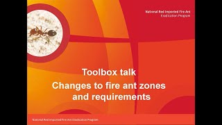 Toolbox talk: Fire ant zones and requirements