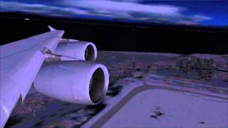 FS2004: Flight from Frankfurt / Main to Anchorage Alaska / USA with A380 Lufthansa