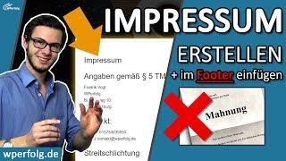 ᐅ Impressum erstellen & ABMAHNUNG vermeiden ✅ Für WordPress, Blog... ✅ Impressum im FOOTER einfügen! Mp3