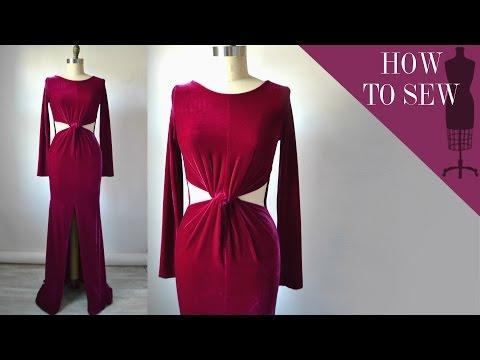 How To Sew A Cutout Twist Waist Velvet Maxi Dress
