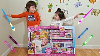 Kids Learning Colors with Huge Coloring Art Set - Toddlers Learn Colours with Disney Princess Toys
